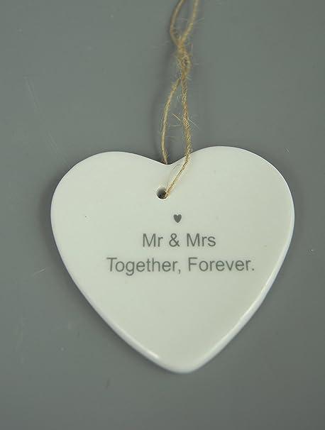 Anniversario Di Matrimonio In Francese.Ceramica Bianca Smaltata Appeso Anniversario Di Matrimonio Cuore