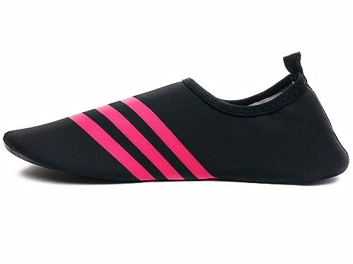 WeWee Zapatillas de Gimnasia de Neopreno Para Hombre Negro Schwarz Mit 3 Pinke Streifen, Color Negro, Talla 35/36