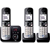 Panasonic KX-TG6823ALB DECT Digital Cordless Phone with Answering System and 3 Handsets,Black