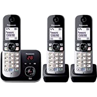 Panasonic DECT Digital Cordless Phone With Answering System And Triple-Pack Handsets, Black (KX-TG6823ALB)