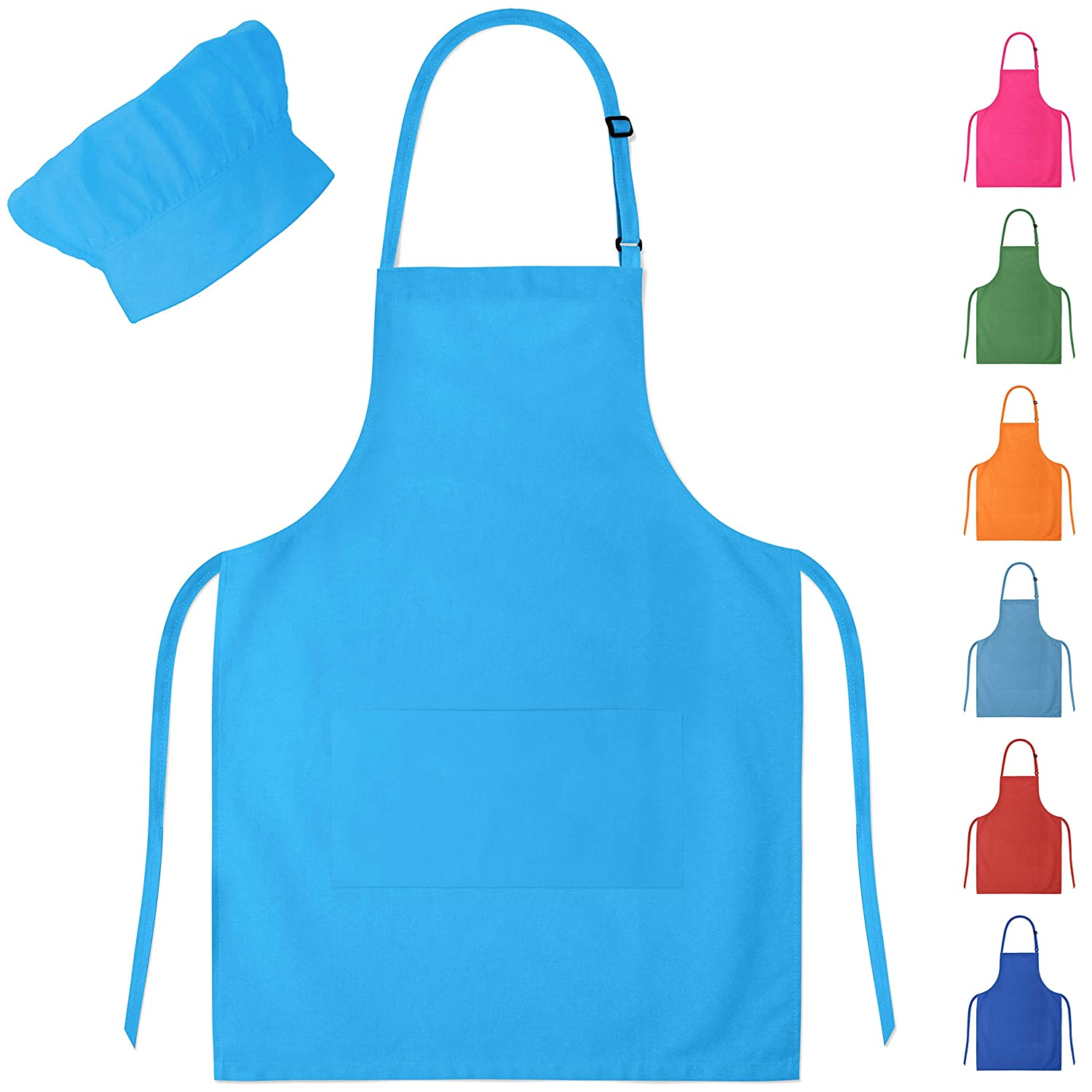 Blue Kids Apron & Chef Hat for Boys & Girls Ages 4-10