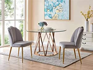 Iconic Home Chelsea Dining Side Chair Vertical Channel Quilted Velvet Upholstered Crown Top Back and Seat Solid Gold Tone Metal Legs (Set of 2) Modern Contemporary, Grey