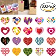 BESTOMZ Heart Stickers 3 Rolls Adhersive Stickers with 20 Different Designs for Valentine's Day and More, Pack of 300