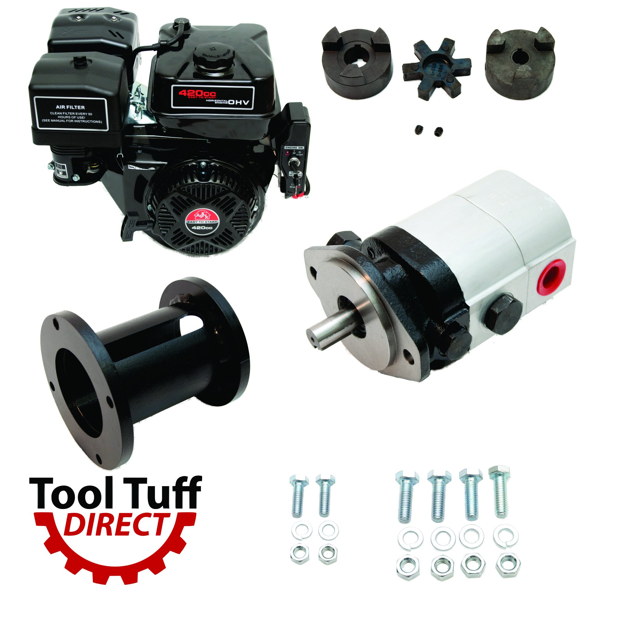 Tool Tuff Log Splitter Build Kit - 15 hp Electric-Start Engine, 28 GPM Pump, Coupler, Mount & Hardware