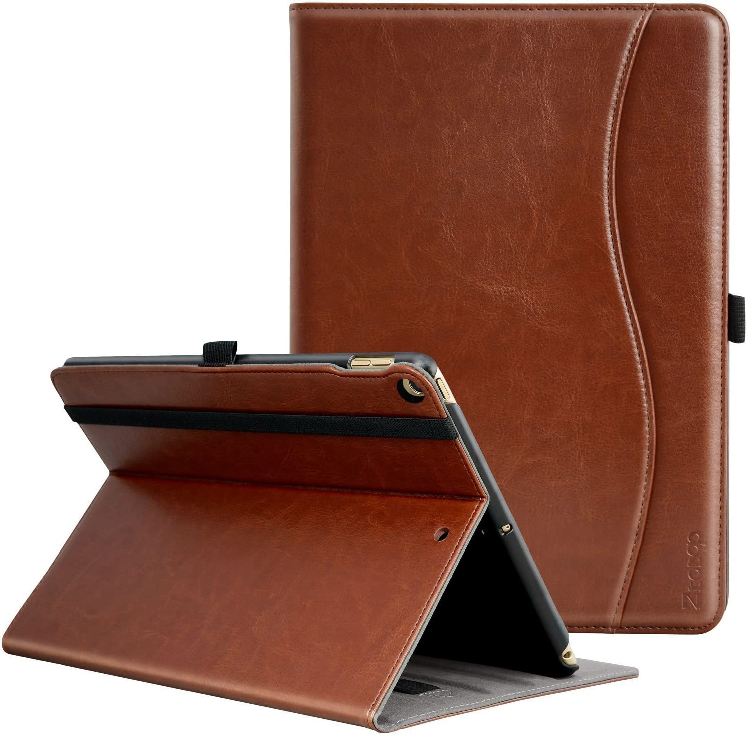 ZtotopCase for New IPad 9.7 Inch 2018/2017,Premium PU Leather Business Slim Folding Stand Folio Cover with Auto Wake/Sleep,Pencil Holder and Multiple Viewing Angles,Brown