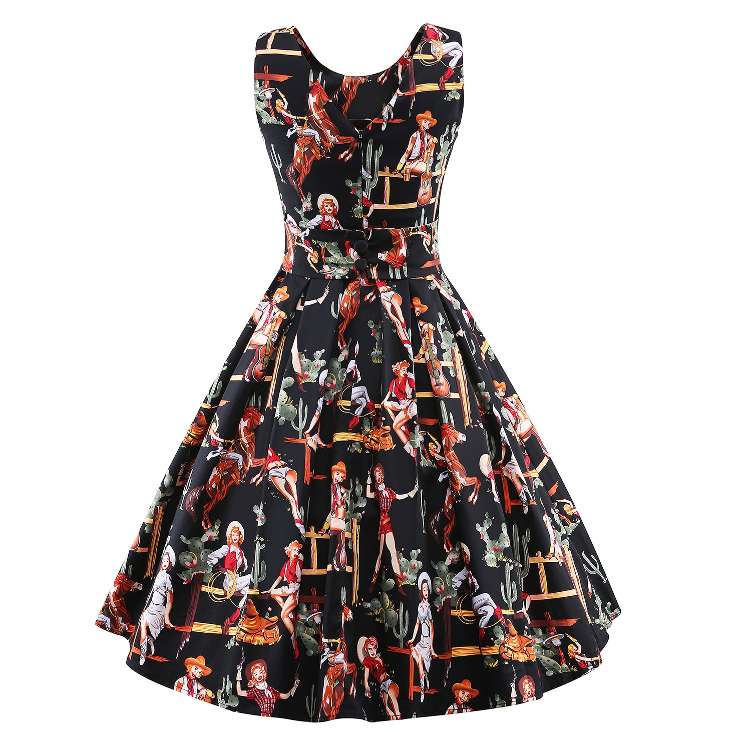 175d138d62b Amazon.com  LUOUSE  Lana  Vintage 1950 s Inspired Rockabilly Swing Dress  black-2 Small  Clothing