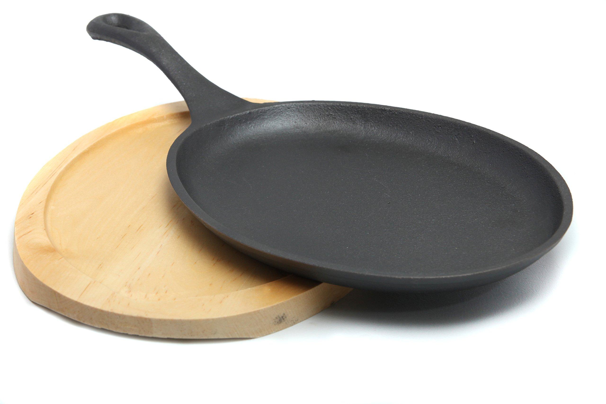 GURO Pre-Seasoned Cast Iron Fajita Pan with Wooden Tray