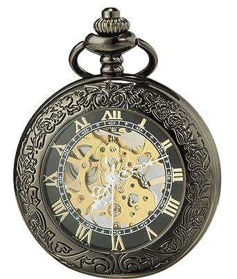 172965408 SEWOR Vintage Magnifier Skeleton Pocket Watch Mechanical Hand Wind (Black  Gold)