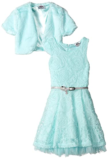 758ef07b7b Amazon.com  Beautees Little Girls  Swirling Flowers Belted Skater Dress  with Faux Fur Vest Over