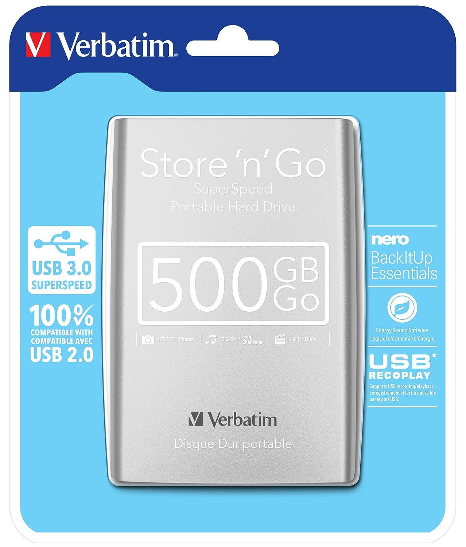 Verbatim StorenGo USB 3.0 1TB Plateado USB 3.0, 2.5, 5000 MB//s Disco Duro Externo de 1 TB