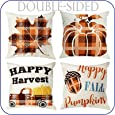 OurWarm Thanksgiving Pillow Covers 18x18 inch Set of 4, Buffalo Plaid Throw Pillows Cotton Linen Leaves Thanksgiving Farmhouse Buffalo Plaid Pillows Case for Fall Thanksgiving Holiday Autumn