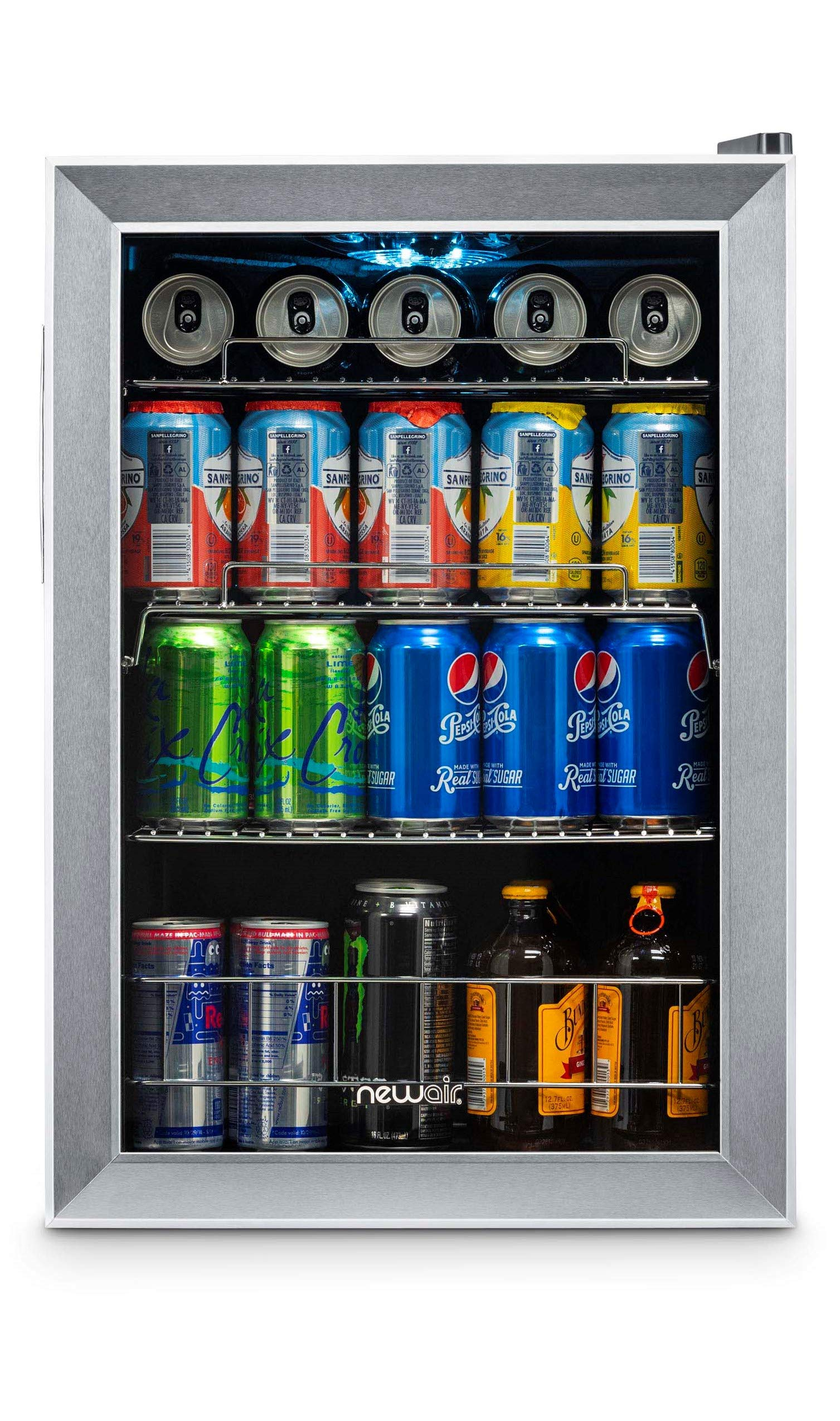 NewAir AB-850 Beverage Cooler and Refrigerator, Small Mini Fridge with Glass Door, Perfect for Soda Beer or Wine, 90-Can Capacity, Stainless Steel by NewAir