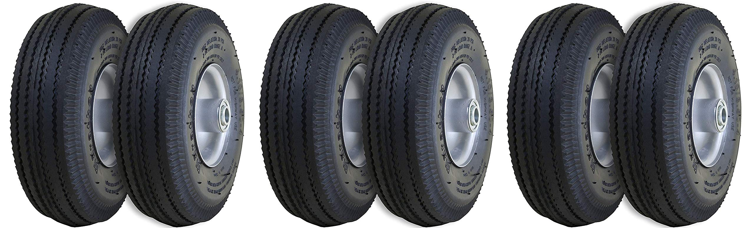 Marathon 4.10/3.50-4 Pneumatic (Air Filled) Hand Truck/All Purpose Utility Tires on Wheels, 2.25 Offset Hub, 5/8 Bearings (3 X Pack of 2)