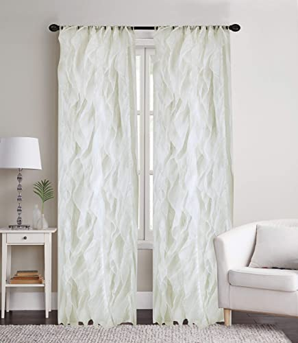 Sapphire Home 2 Cascade Curtain Panels, Ivory Ruffle 84 Curtain Panels, Sheer Voile Vertical Ruffled Curtain Panels, Cascade 84 Ivory
