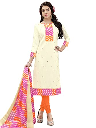 3c4de764ad Image Unavailable. Image not available for. Color: Women's Cream Cotton  Embroidered Unstitched Dress Material Salwar Kameez
