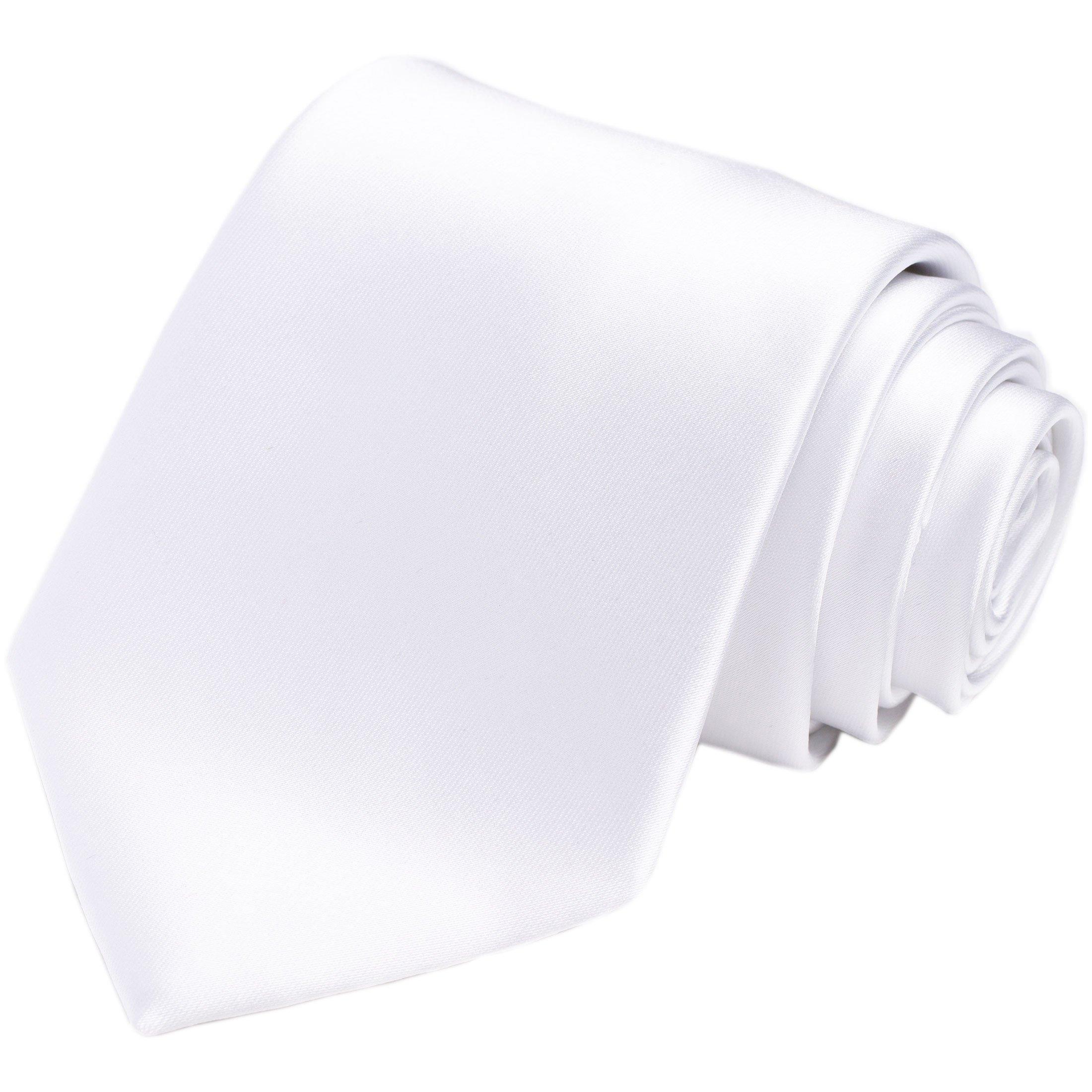 KissTies White Tie Mens Necktie Satin Wedding Ties + Gift Box by KissTies