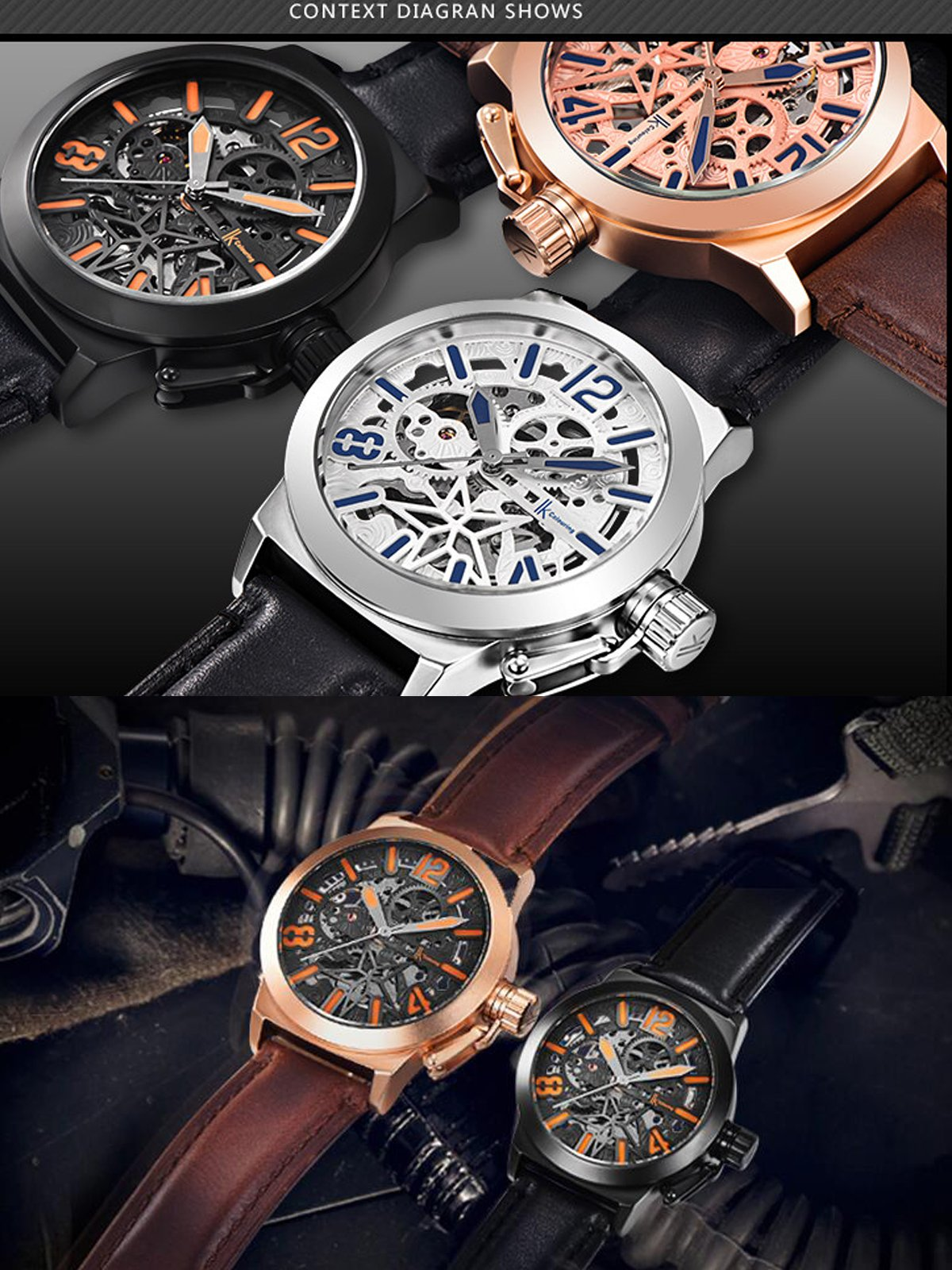 Gute Mechanical Men Automatic Watch, Motion Style Tone Self Winding Genuine Black Leather Band Watch by GLEIM (Image #4)