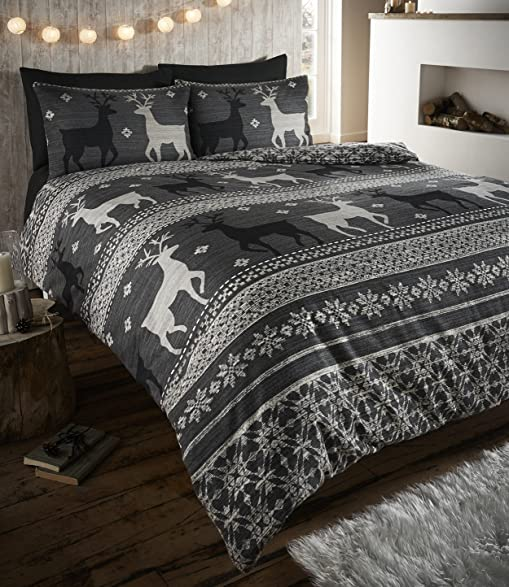 Amazon.com: Helsinki Winter Stag Fair Isle 100% Brushed Cotton ...
