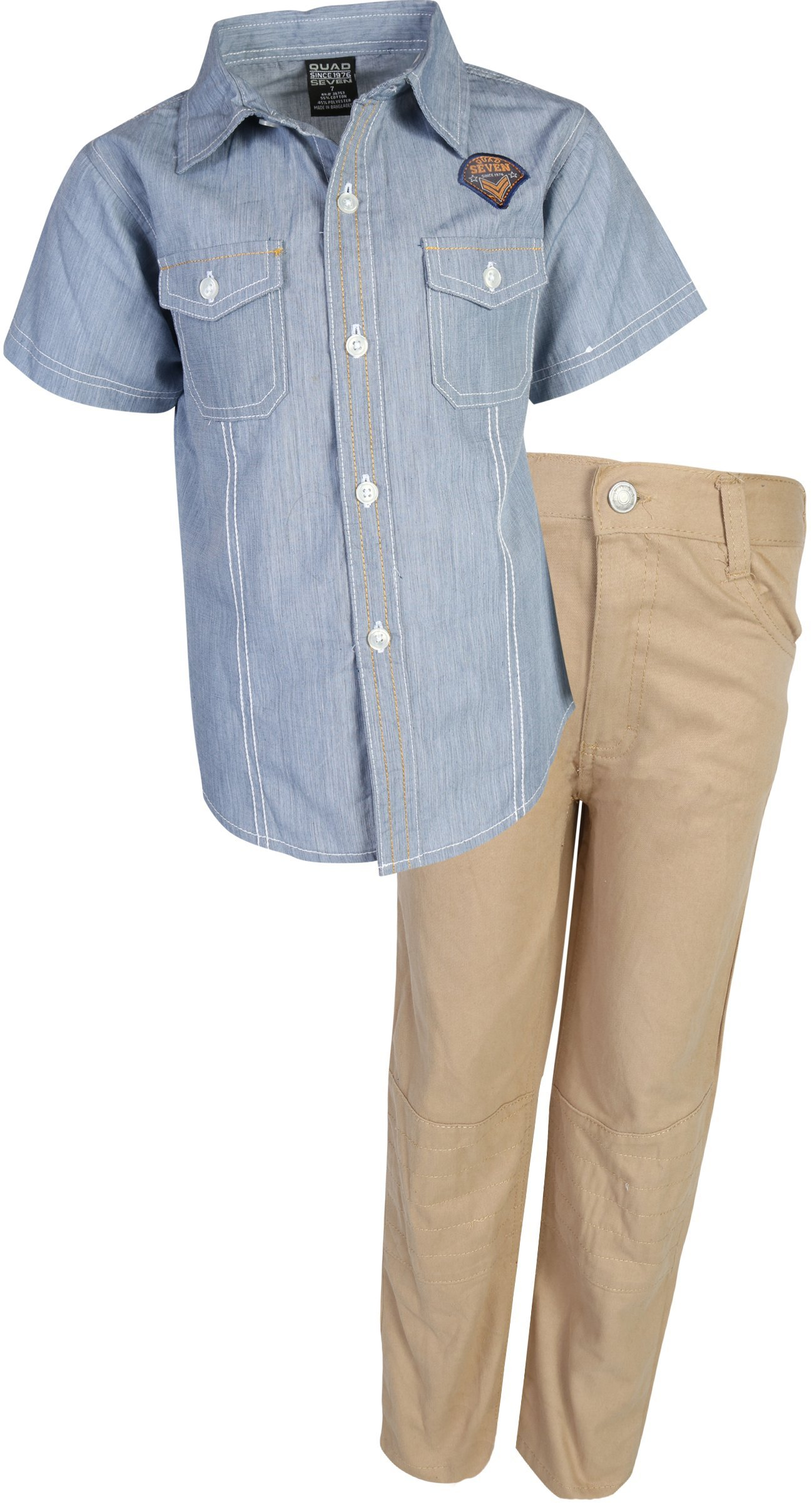 Quad Seven Boys Pant Set Woven Top and Twill Bottom, Blue Denim/Khaki, Size 4'