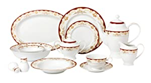 Lorren Home Trends 57 Piece 'Mabel' Bone China Dinnerware Set (Service for 8 People), Burgundy
