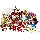 Decorazioni di Albero di Natale, 50 pezzi di ornamenti decorativi per la decorazione natale, Giardino con fiocchi e nevi, sfera di natale,natale carta, ornamenti dell'albero Ganci