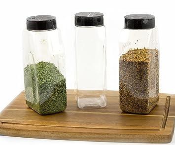chefible 32 oz coctelera de botes, tarro, tapa negra, dispensador de especias y hierbas, juego de 3. 1 L transparente: Amazon.es: Hogar