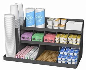 Mind Reader 14 Compartment 3 Tier Large Breakroom Coffee Condiment Organizer, Black