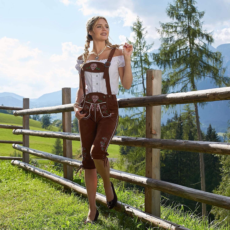 dressforfun 900804 Damen Lederhose mit Tr/äger braun Diverse Gr/ö/ßen - Kniebund in klassischer Trachtenform feine Blumenstickereien S  Nr. 302820