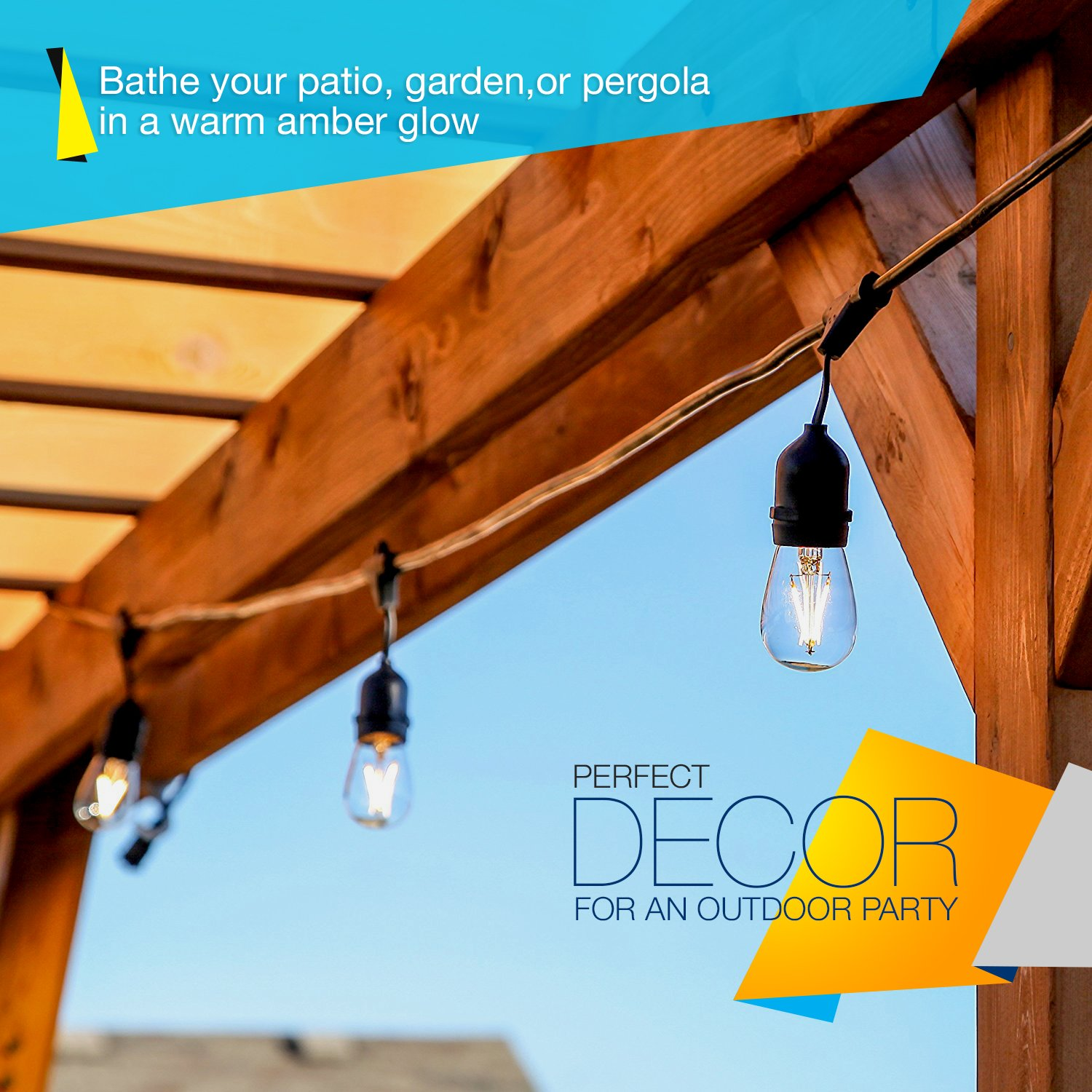 Also started to install some led lighting in the pergola - Amazon Com Brightech Ambience Pro Led Commercial Grade Outdoor String Lights With Hanging Sockets Dimmable 2 Watt Bulbs 48 Ft Market Cafe Edison