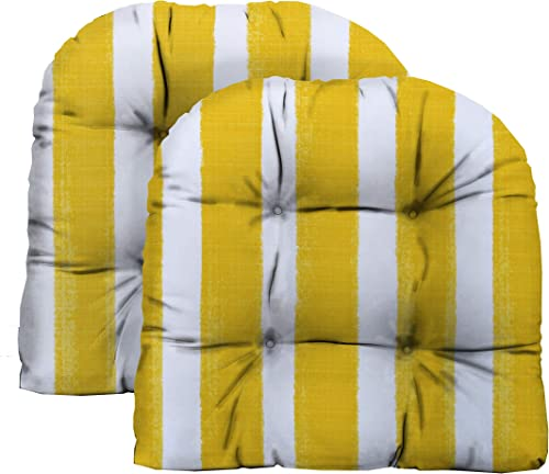 RSH D cor Indoor Outdoor Tufted Wicker U-Shape Chair Cushions Choose Size Fabric Great for Porch, Deck Home Decor 2 – Large 21 x 21 Cushion, Nico Pineapple Yellow Watercolor Stripe