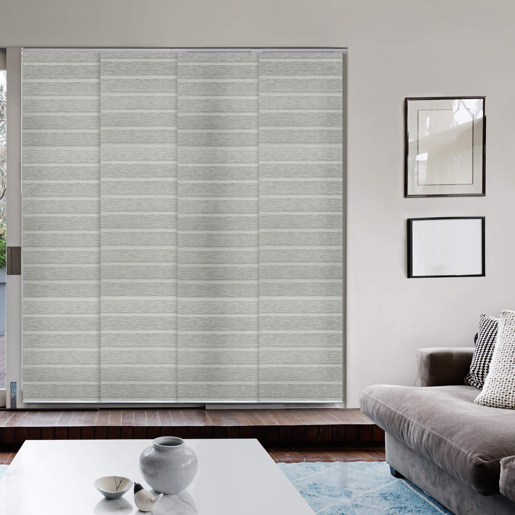 Godear Design Deluxe Adjustable Sliding Panel 45.8''-86'' x 96'', 4-Rail, Pleated Natural Woven Fabric, Pigeon by Godear Design