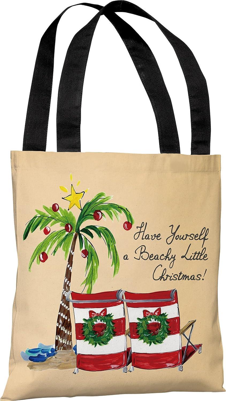 Tan//Multi One Bella Casa Beachy Little Christmas Tote Bag by Timree Gold 18x 18