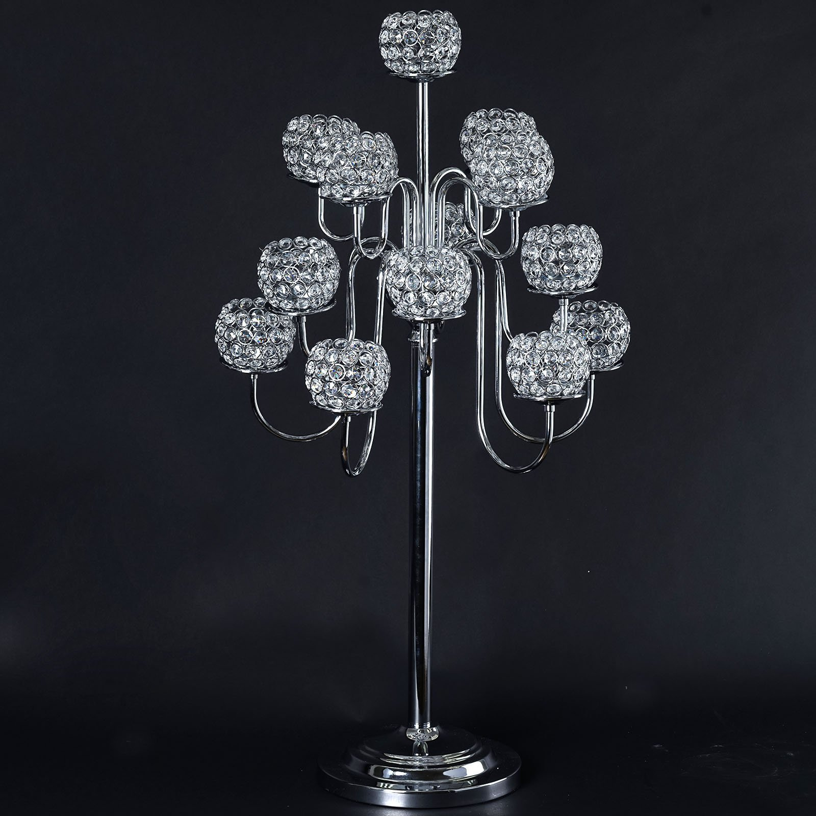 Efavormart 39.5'' Silver Crystal Beaded 13 Arm Candelabra Chandelier Votive Candle Holder Wedding Centerpiece by Efavormart.com (Image #1)