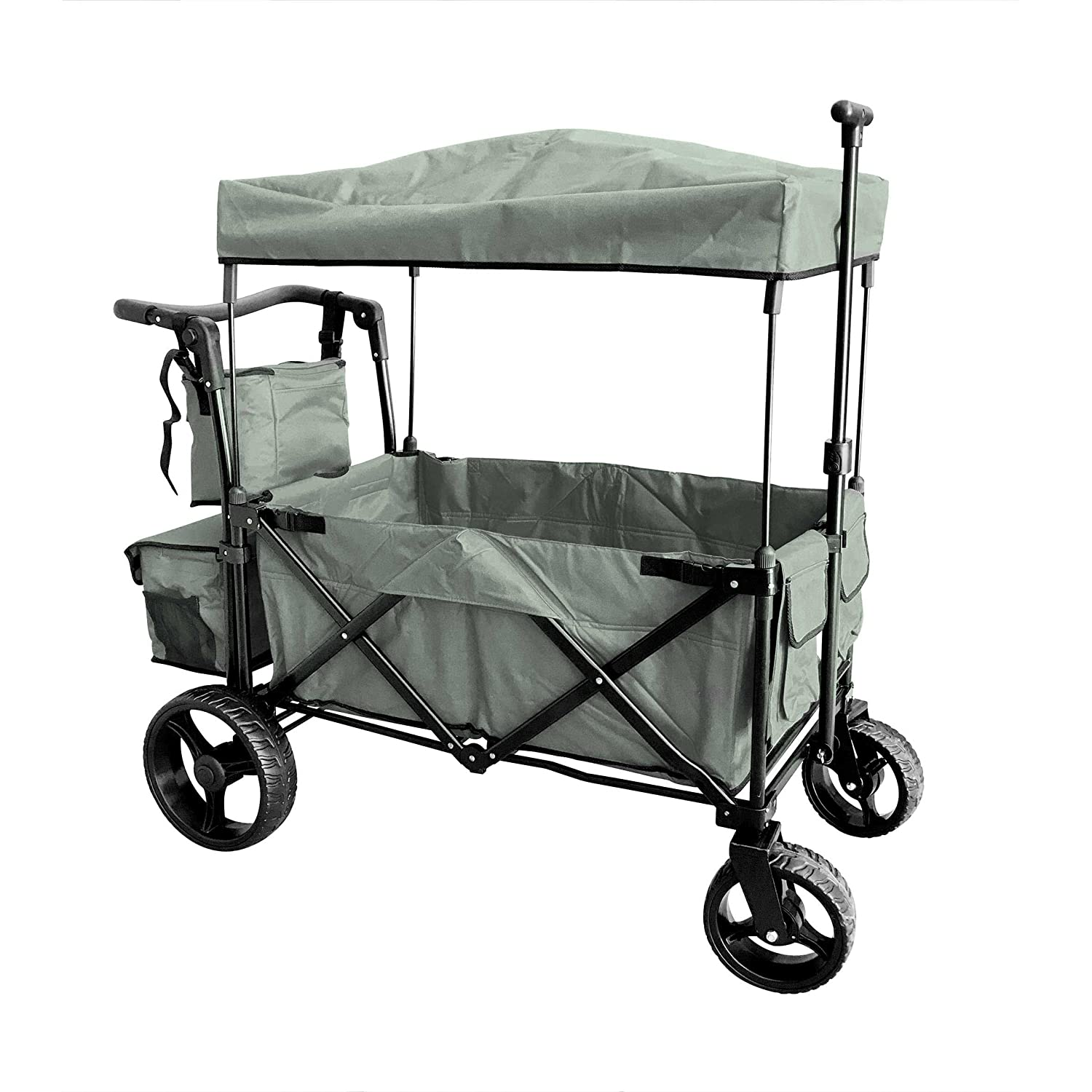 Grey Push and Pull Handle with Wide Off Road All Terrain Tires Beach Outdoor Sport Collapsible Folding Stroller Wagon Baby Trolley W/Canopy Garden Utility Shopping Travel CARTFREE Carrying Bag WagonBuddy