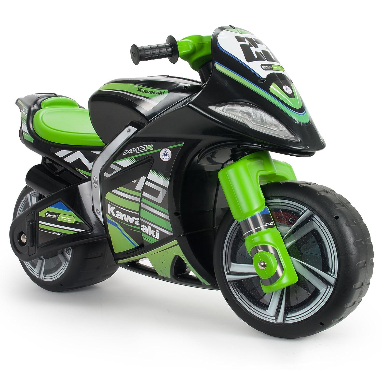 INJUSA - Moto correpasillos Kawasaki XL para niños + 3 años con asa para facilitar el