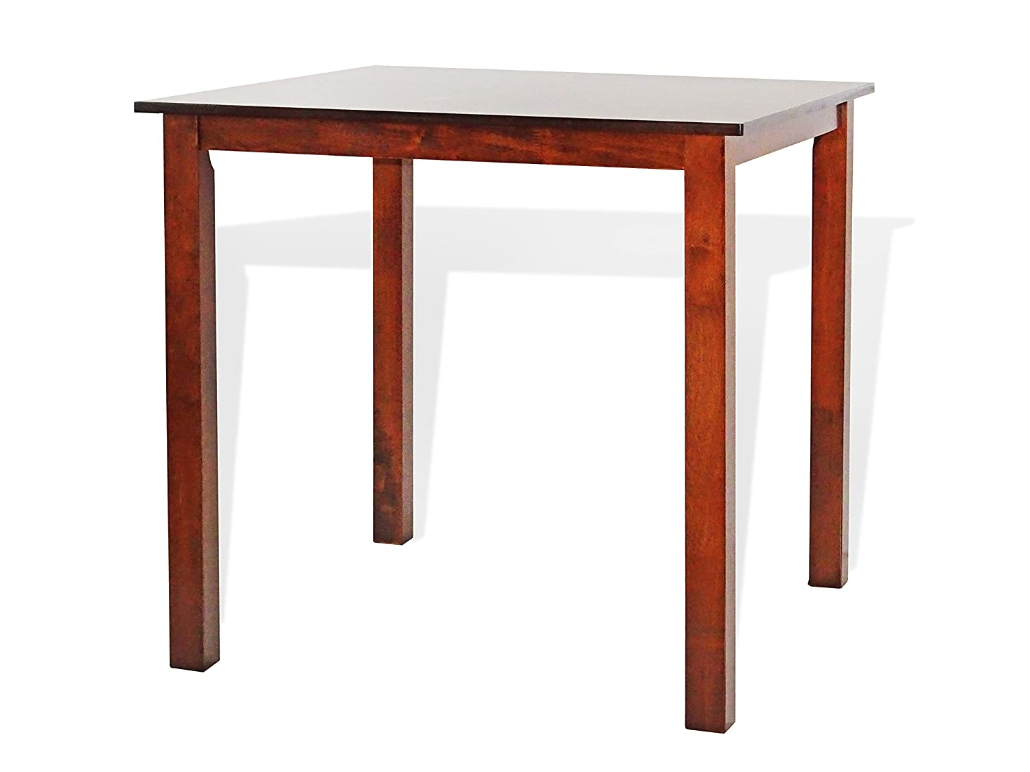 Dining Square Kitchen Table Contemporary Design Solid Wooden in Dark Walnut Finish
