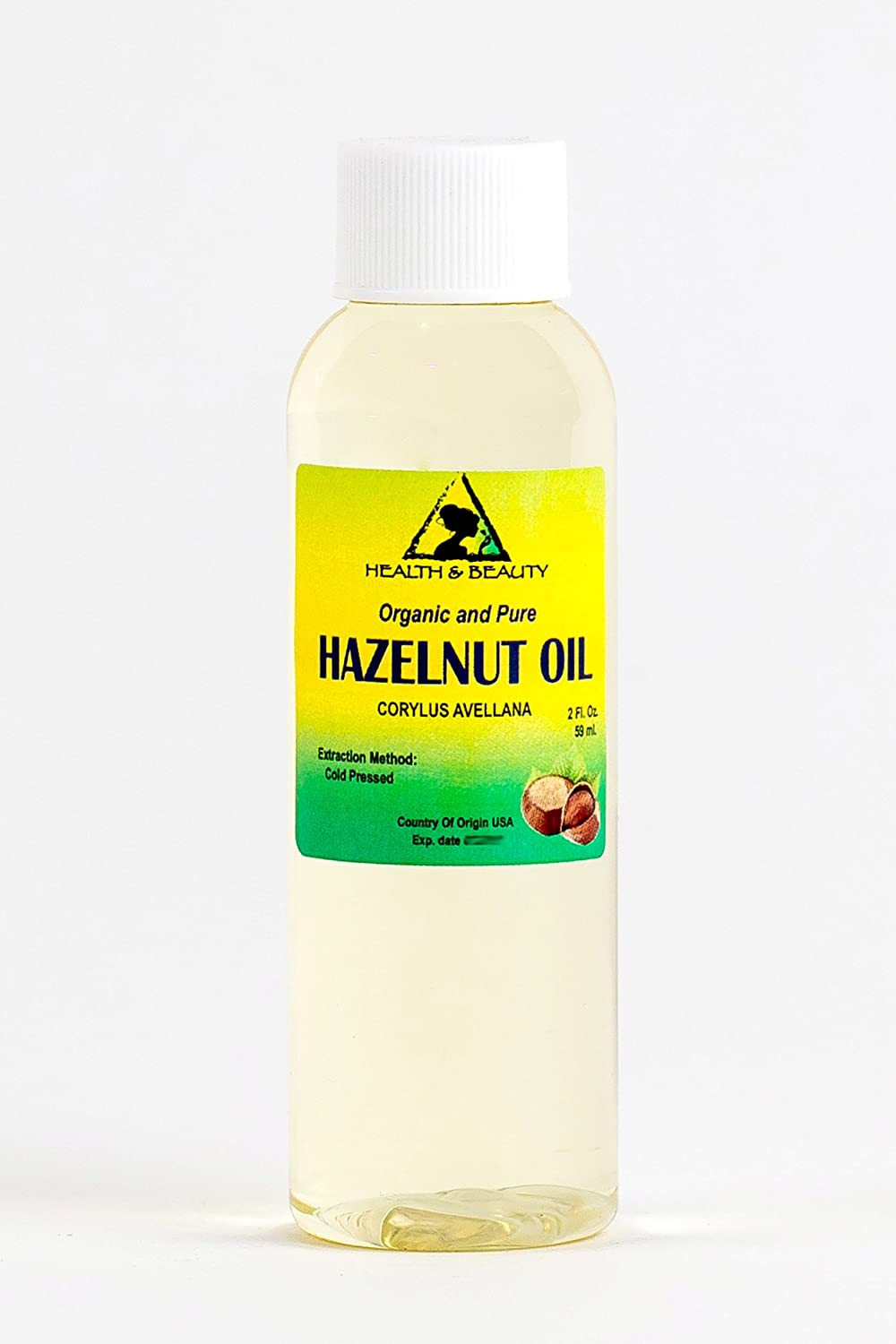 Hazelnut Oil Organic Carrier Cold Pressed 100% Pure 2 oz, 59 ml H&B OILS CENTER Co.