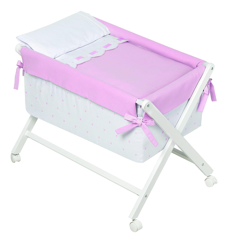 Kinder Class–minicuna, 68x 90x 71cm, Farbe: weiß/pink
