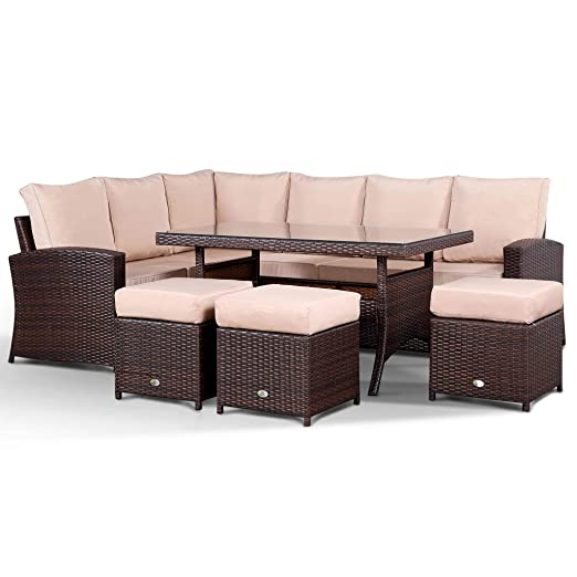 Armonía 9 plazas ratán sofá de esquina con mesa de comedor en ...