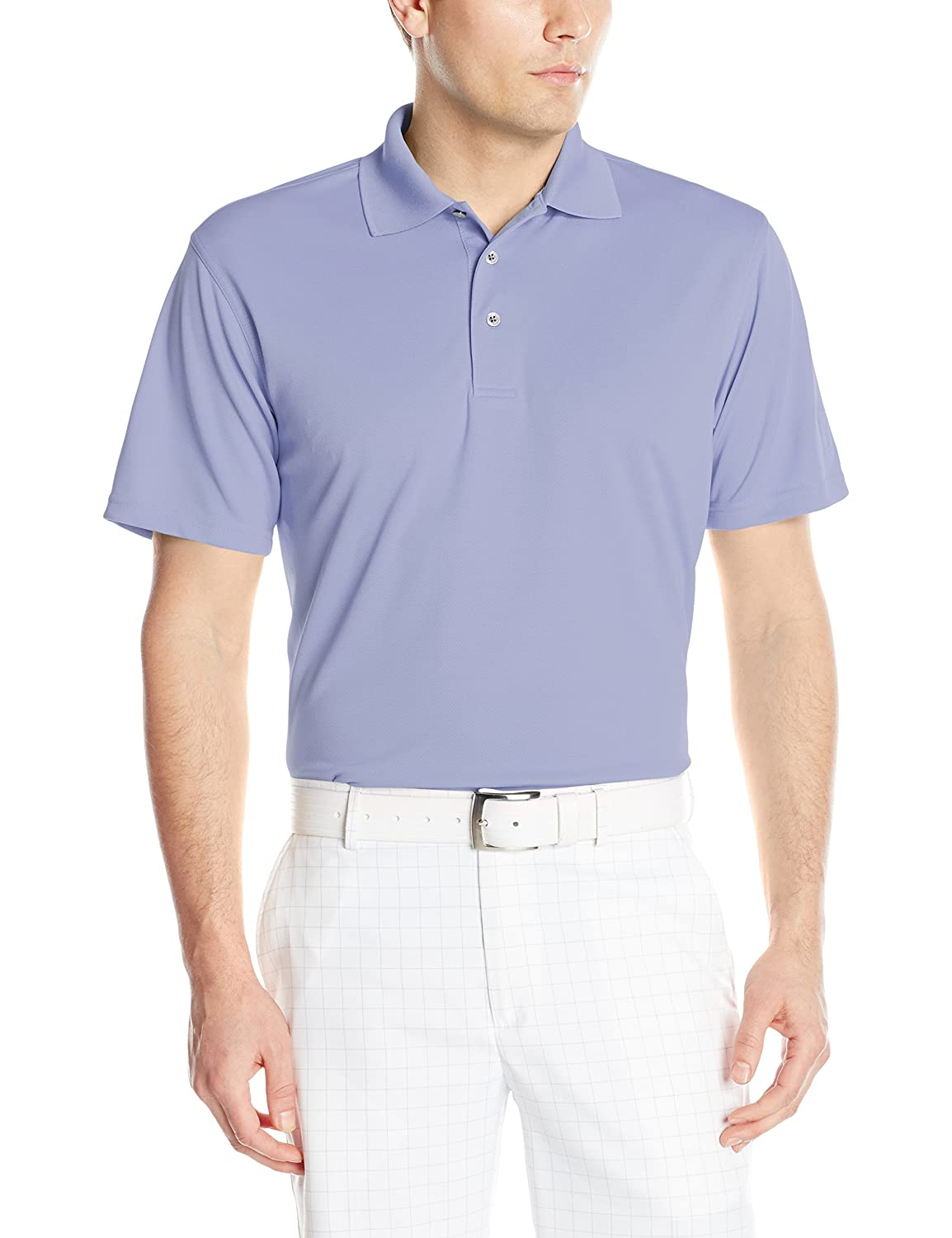 PGA TOUR Men's Short Sleeve Airflux Solid Polo, Thistle Down, Medium
