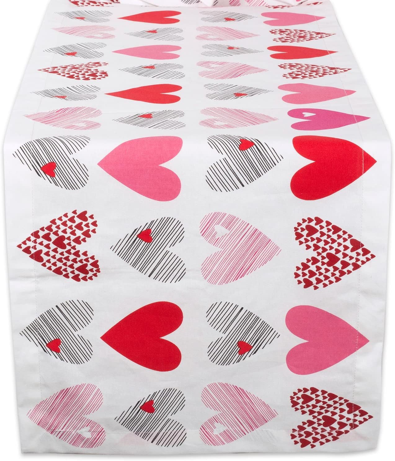 "DII 100% Cotton, Machine Washable, Printed Kitchen Table Runner For Mother's Day, Valentin's Day and Everyday Use - 14x108"", Hearts Collage"