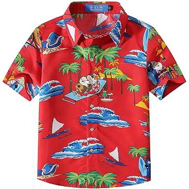 c05a53bd SSLR Big Boys' Funny Santa Claus Ugly Hawaiian Christmas Shirts (X-Small(