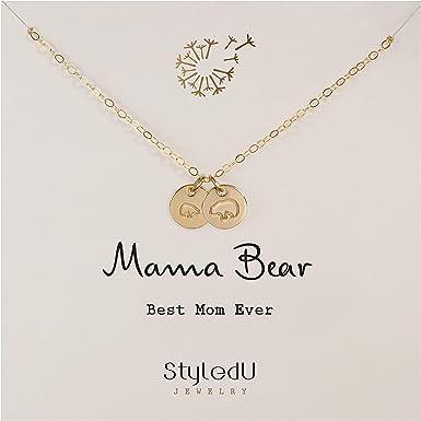 Momma Bear Necklace with 1 Cub Mama Bear Necklace 1 Cub