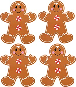24 Pieces Christmas Gingerbread Man Cutouts Christmas Tree Ornament Decoration Gingerbread Men with Glue Point Dots for Christmas Candy Theme Party Decoration Classroom Bulletin Board Decoration