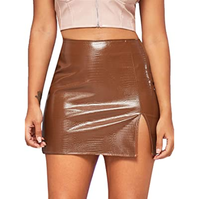 SOLY HUX Women's Split Hem Mid Waist PU Leather Mini Short Bodycon Skirt at Women's Clothing store