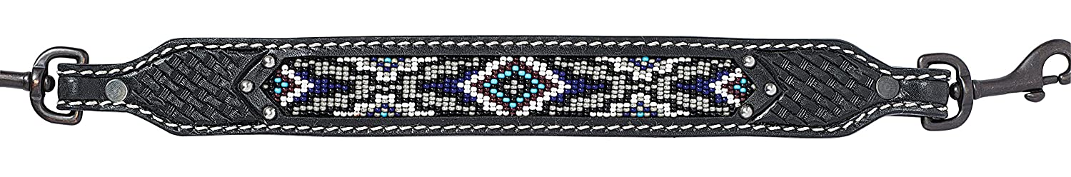 Weaver Leather Weaver Leather Livestock Beaded Goat Collar, Royal Diamond Beading with Black Leather 80-1099-G4, Black, 24IN