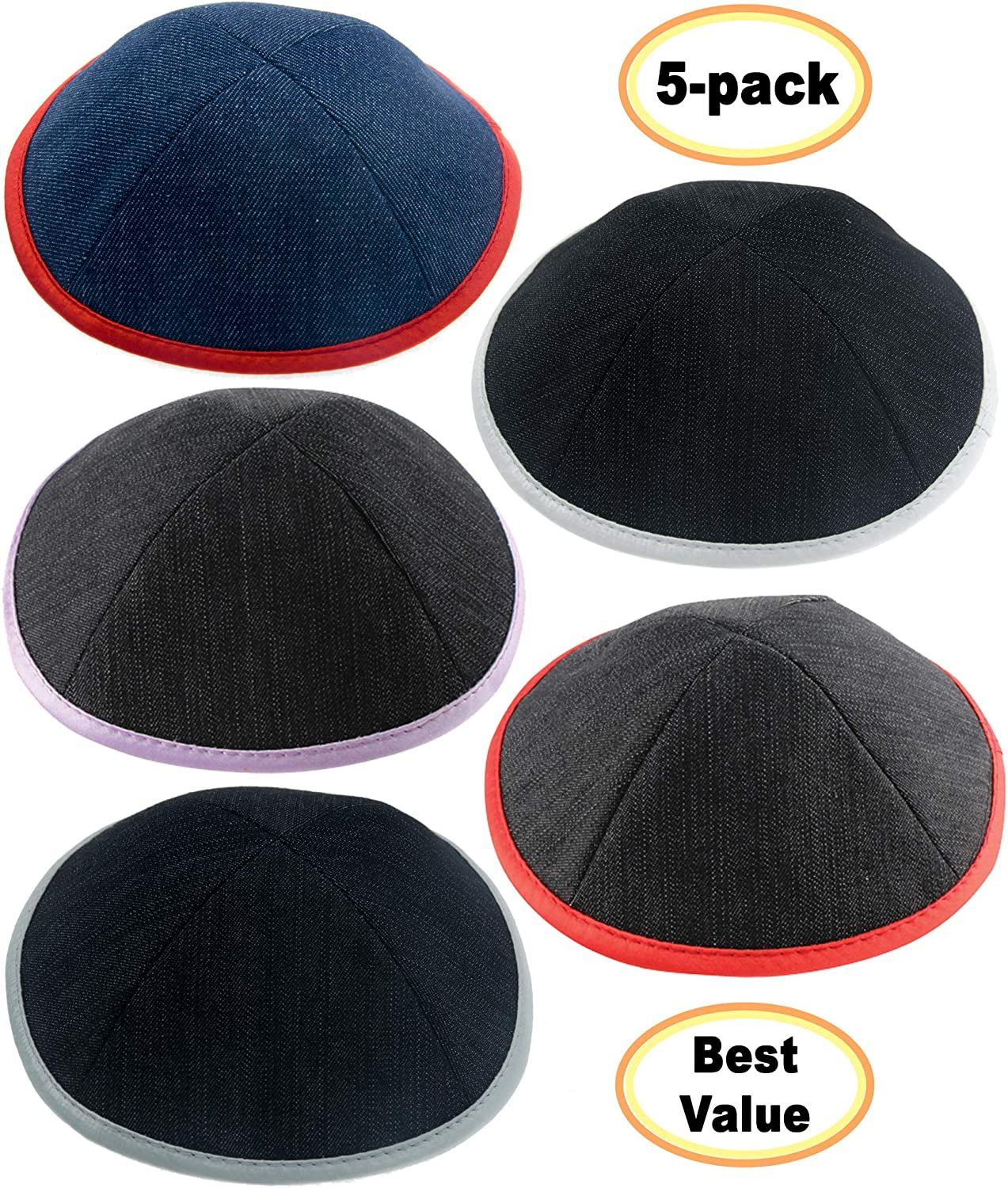ateret yudaica Pack of 5-Pcs - Hq 19cm Black/Blue Jeans Look Fabric with Mix Colors Edge, Kippah for Men Boys and Kids, Yamaka Hat from Israel - Kippot Bulk - Set 7