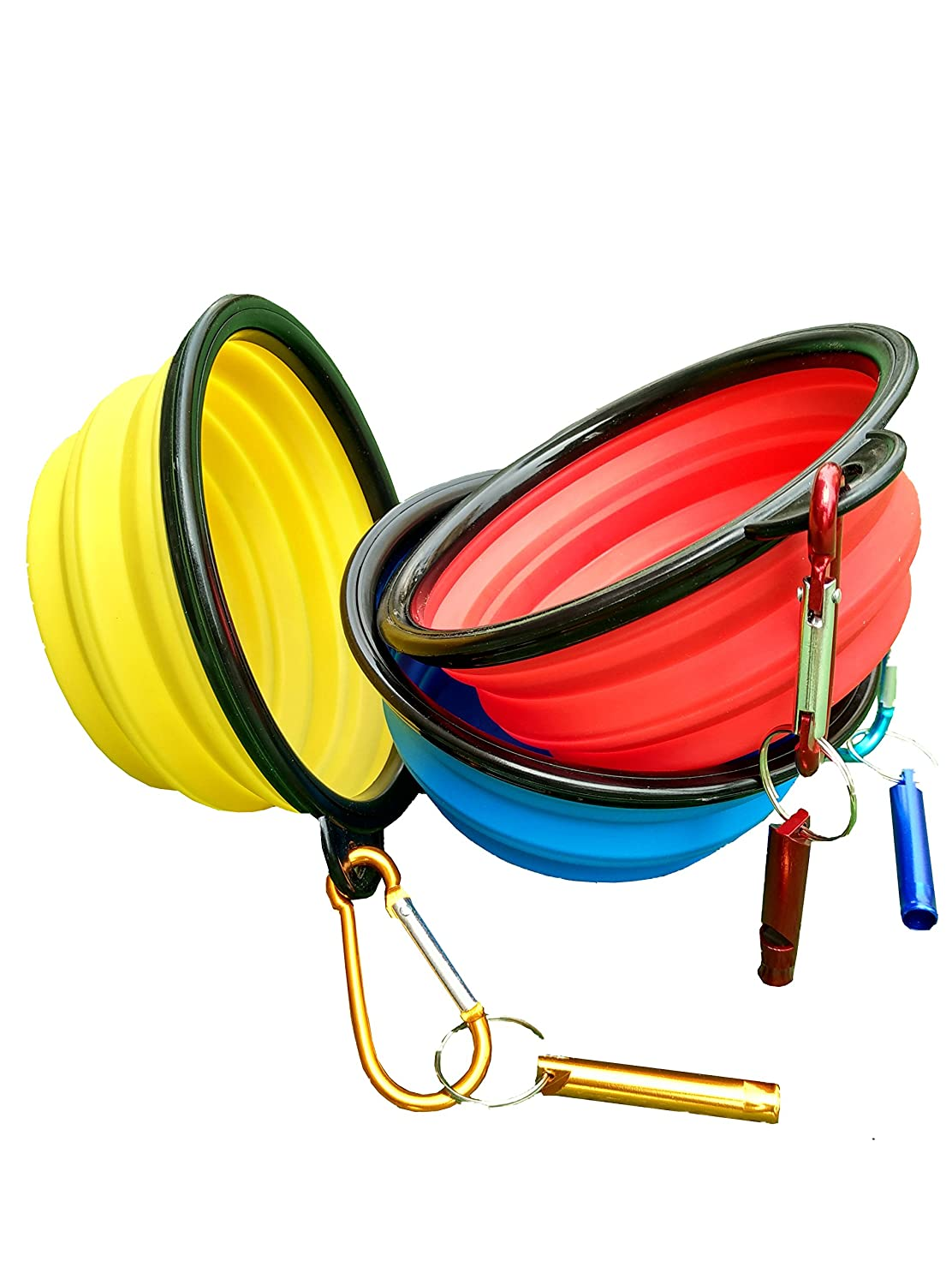 Cafford Collapsible Travel Dog Bowl for Food & Water With Clips & Whistles 3 PCS  Set