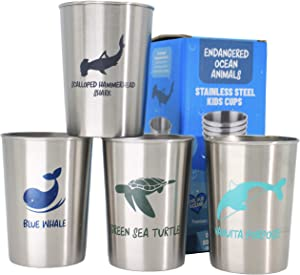 Stainless Steel Cups for Kids Toddlers and Babies Party Favors 4 pack 10oz - Endangered Ocean Sea Animals featured on Metal Tumblers, Gift by Hatty with Free Origami Corner Bookmark