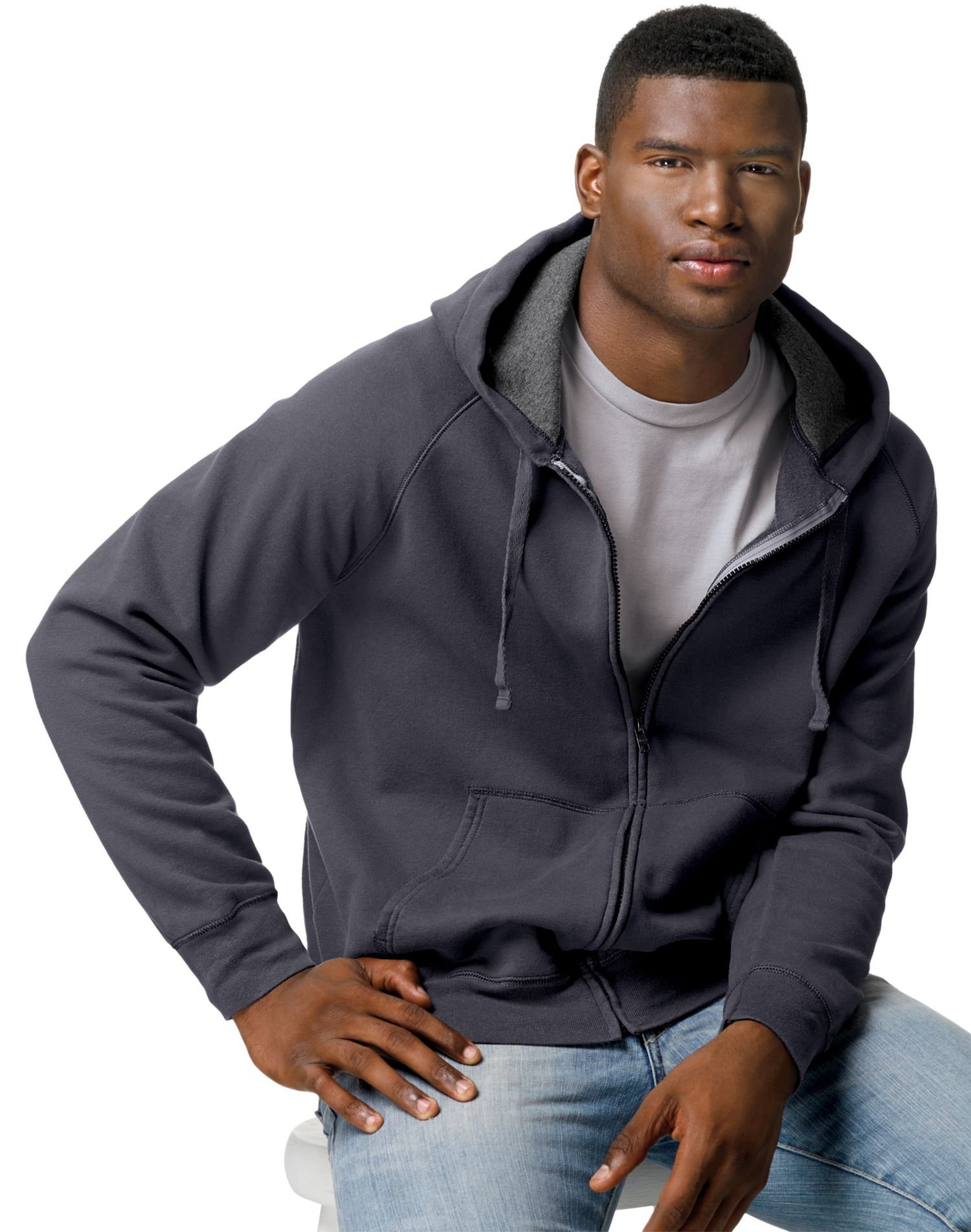 Hanes Men's Full Zip Nano Premium Lightweight Fleece Hoodie, Vintage Black, X-Large